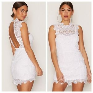 Free People White Lace Open Back Bodycon Dress